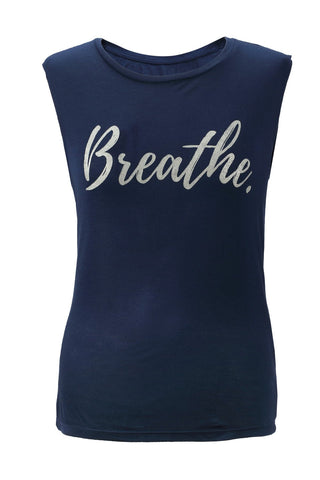 Breathe Slogan Vest Top Blue / Silver