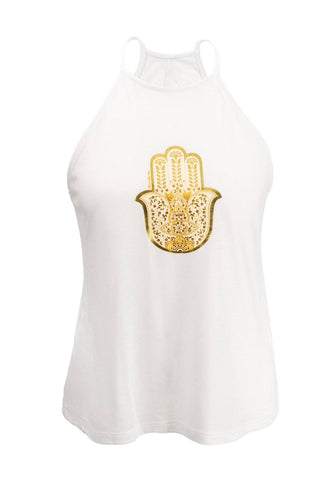 White Hamsa High Neck Flowy Vest Top