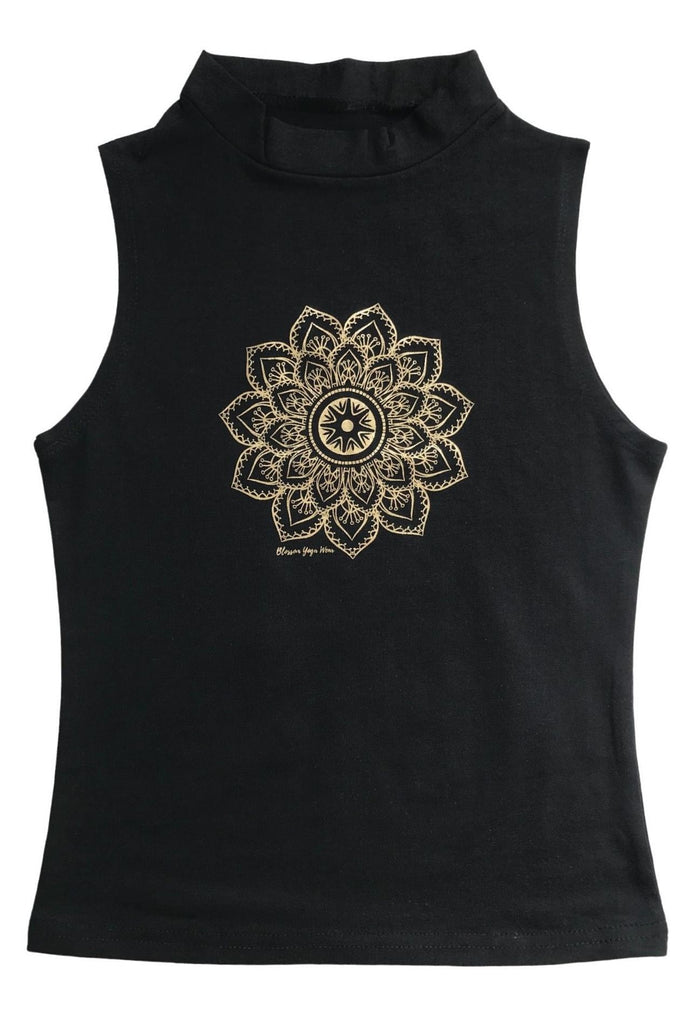 Gold Mandala Print Cropped Vest Top
