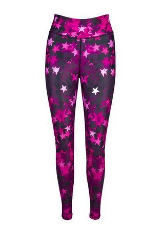 Namastar Pink Star Print High Waisted Printed Yoga Pants - Blossom Yoga Wear