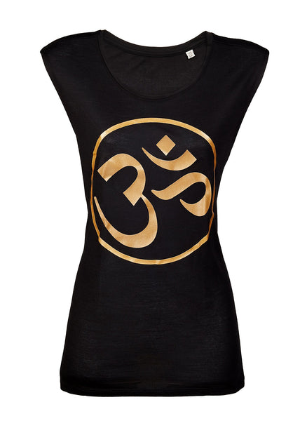 Om Logo Vest Top Black/ Gold - Blossom Yoga Wear