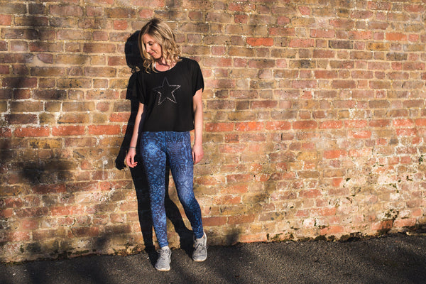 Black and Silver Star Print Boxy Cropped T Shirt