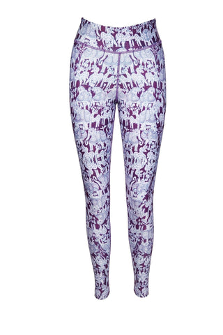Your Majesty Ganesh Purple Print Yoga Leggings - Blossom Yoga Wear