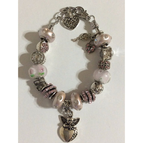 Guardian Angel Heart Charms Adjustable Charm Bracelet Hand Crafted