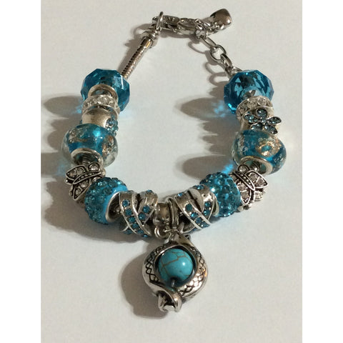 Butterfly Hearts Love Turquoise Adjustable Charm Bracelet Hand Crafted