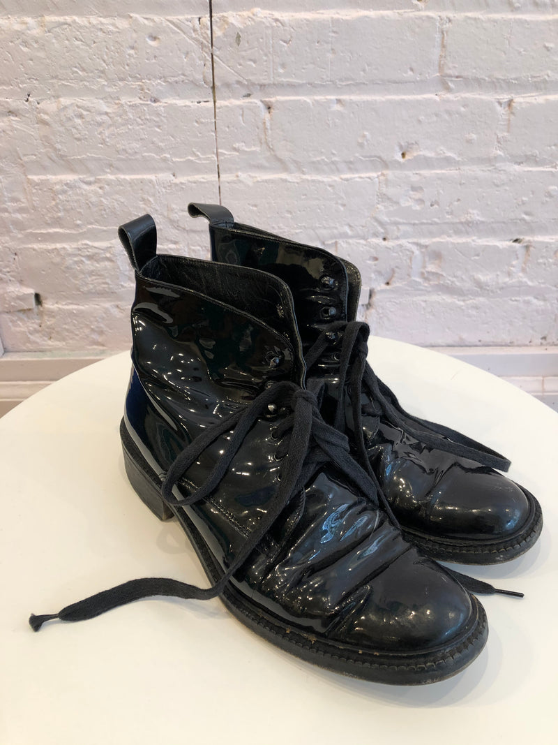 Patent leather lace up combat boots