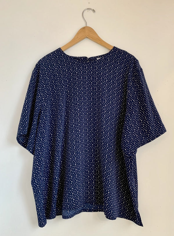 Navy and Cream Dot Blouse- XL