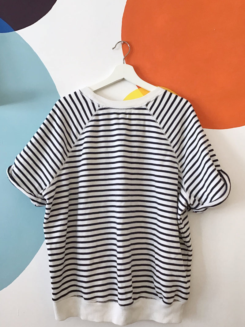 Striped Short Sleeve Knit Sweater
