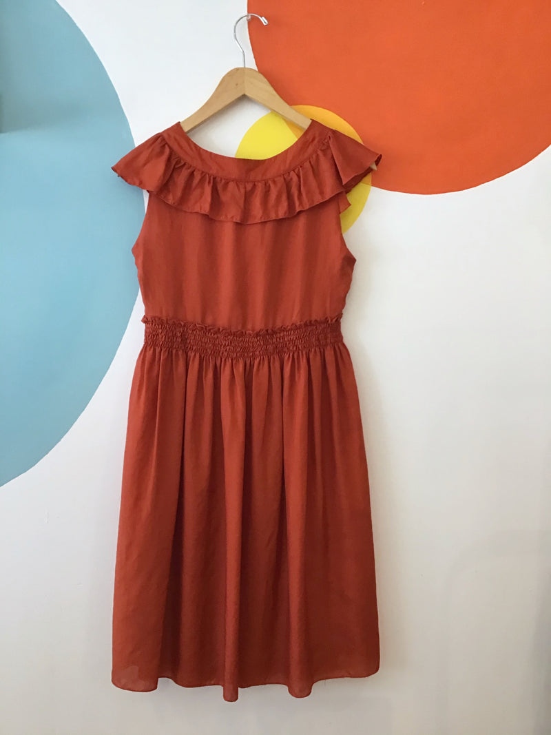 Terracotta Ruffle Dress With Bow