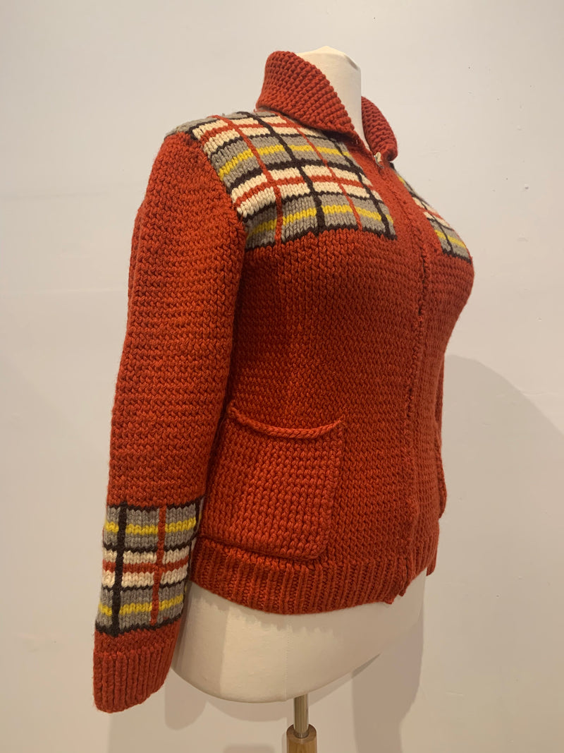 Vintage knit zip front sweater