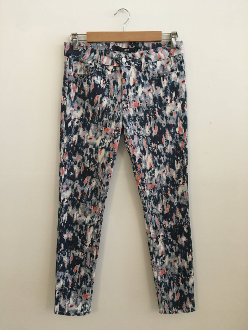 Paint splatter print denim pants