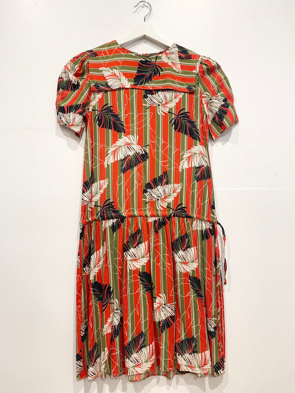 Vintage Drop Waist Tropical Pattern Dress