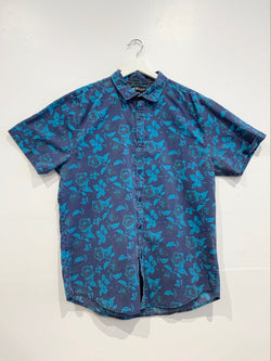 Blue Floral Short Sleeve Button Up