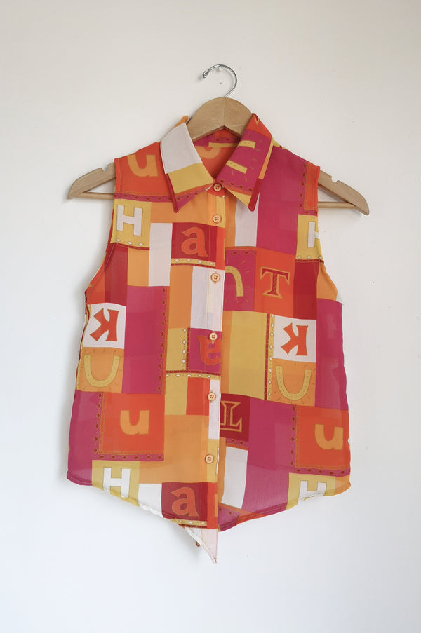 Vintage Sleeveless Button-Up