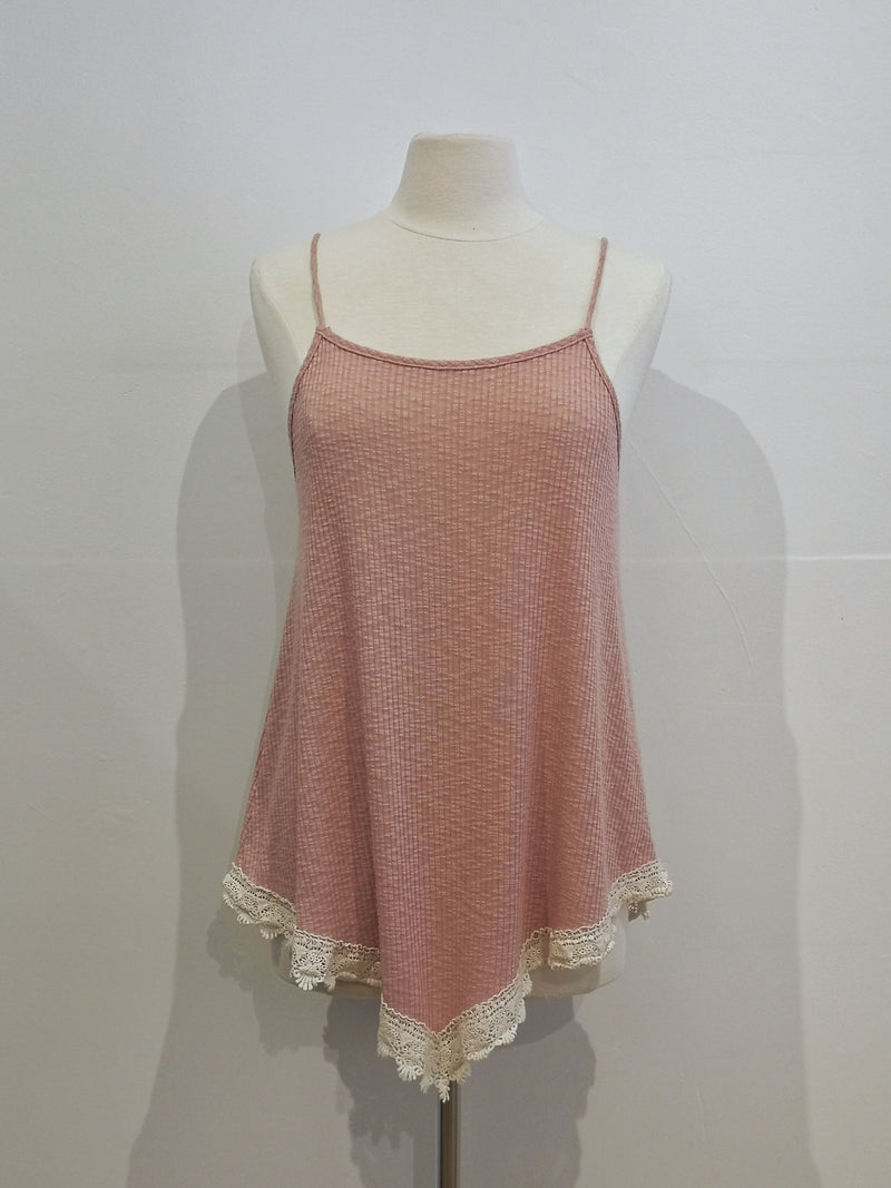 V-Hem Tank with Crochet Trim