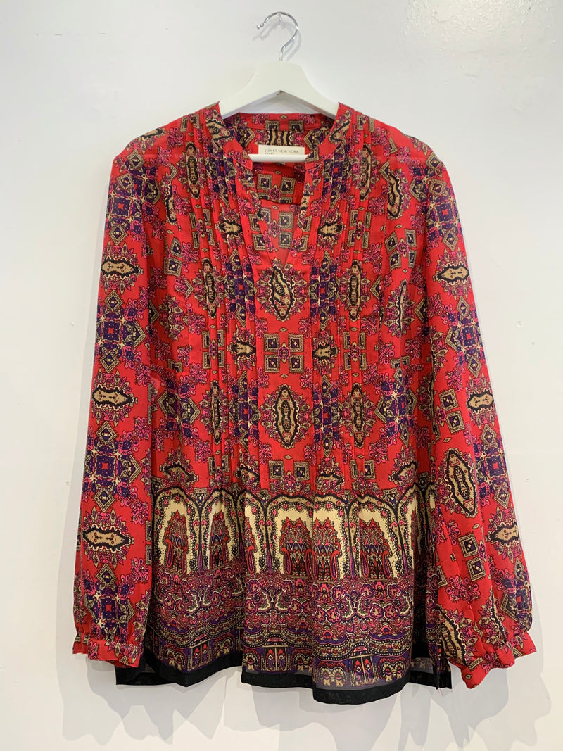 Red Patterned Long Sleeve Blouse