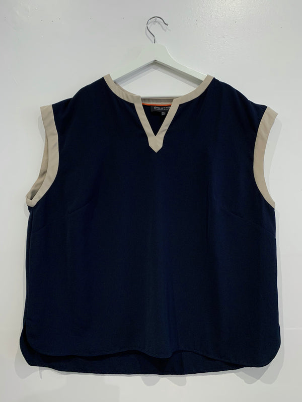 Navy and Tan Sleeveless Tunic