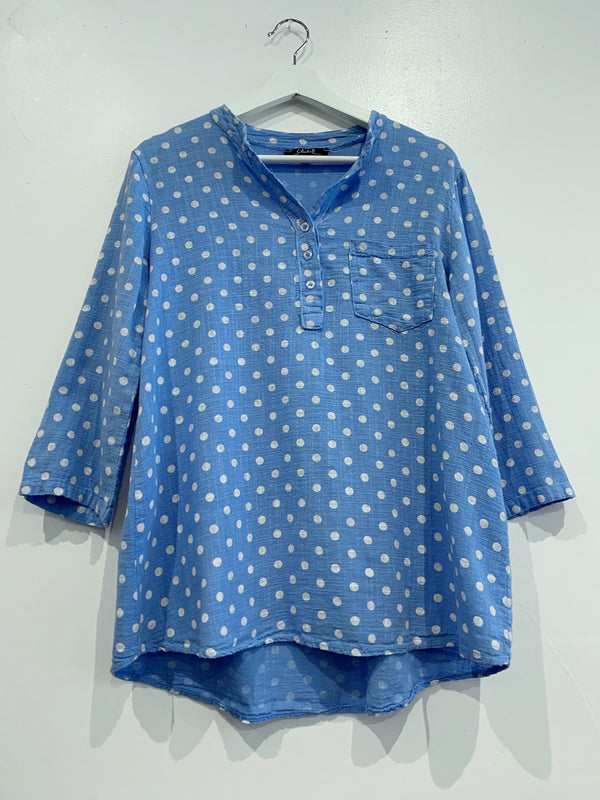 Periwinkle Polka Dot Top