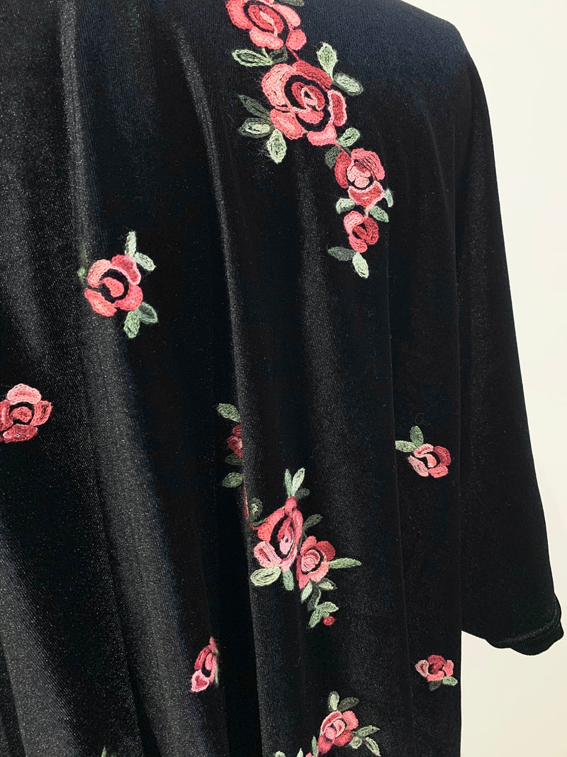 Velvet Embroidered Open Cardigan