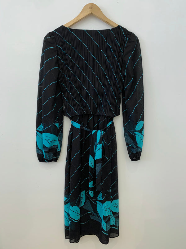 70s Miami Style Black and Turquoise Dress