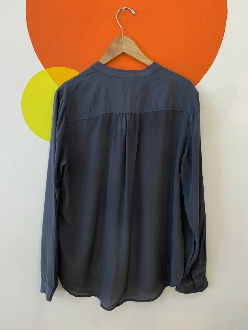 Grey Silk Long Sleeve Blouse