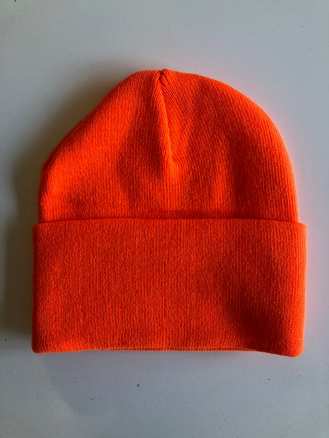 Rib Knit Toque - neon orange