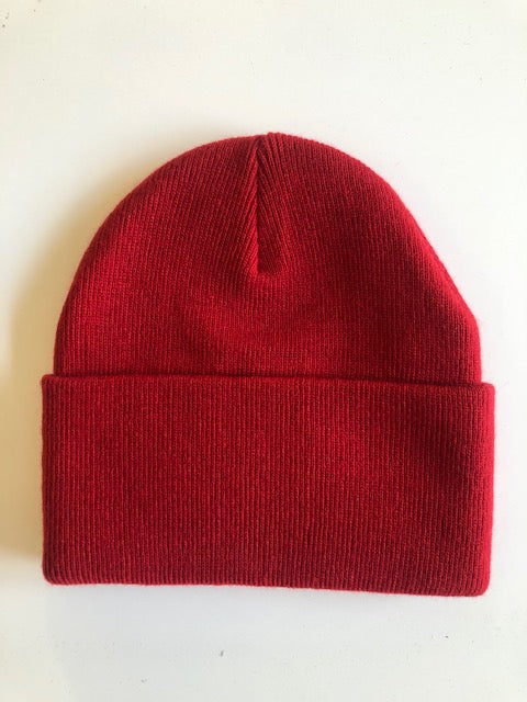 Rib Knit Toque - red