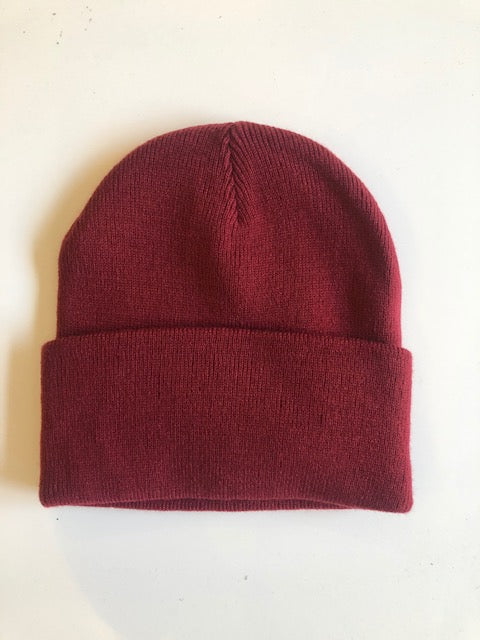 Rib Knit Toque - burgundy