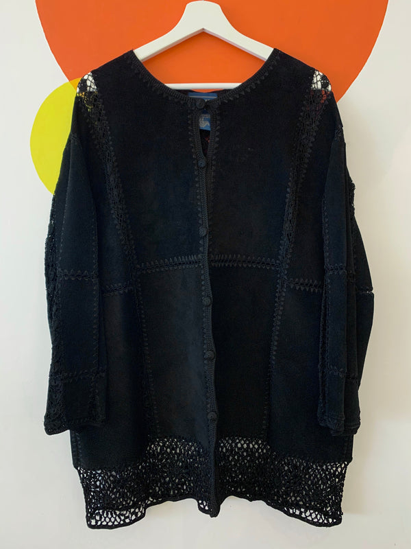 Suede & Lacework Shirt Jacket