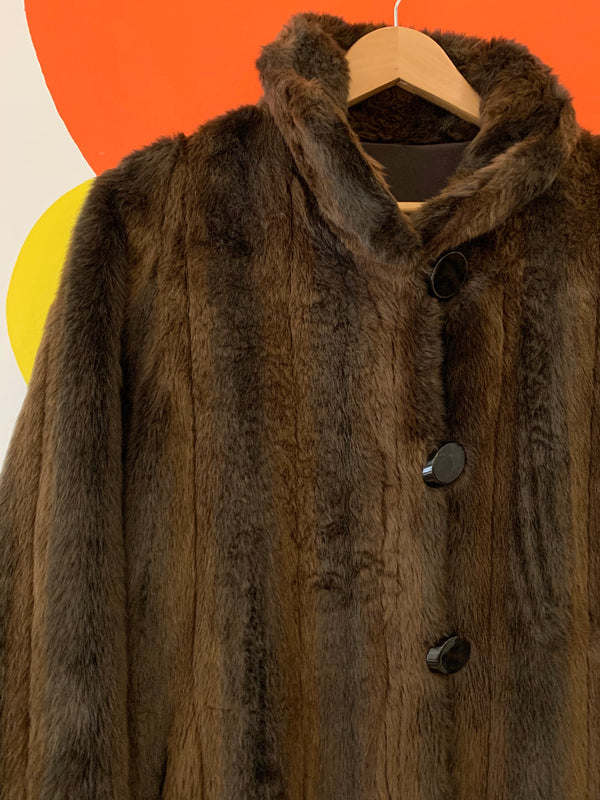 Vintage Brown Faux Fur Coat