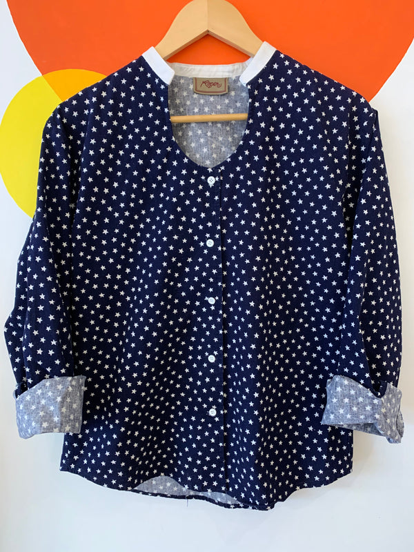 Vintage Star Print Button Up Shirt