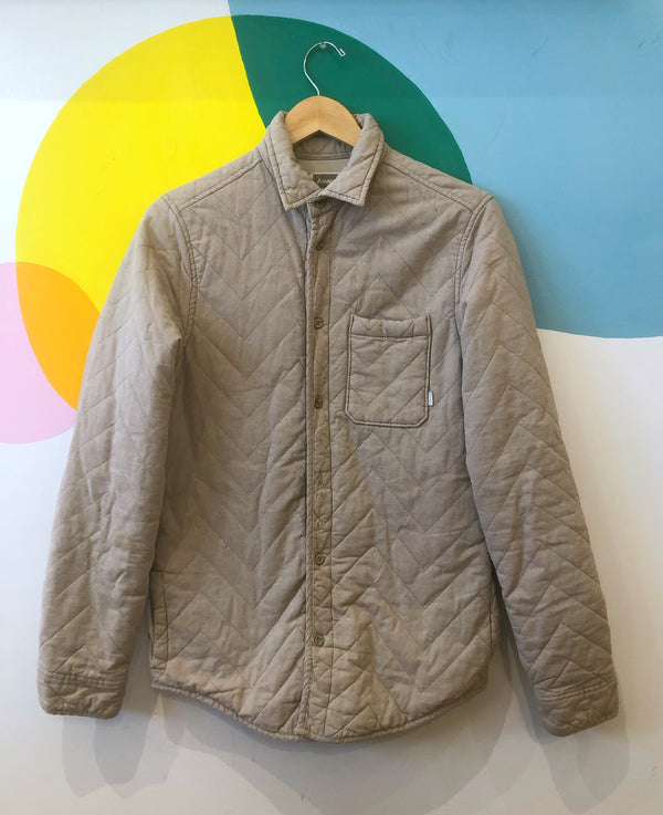 Quilted fitted jacket - fits Small - sand