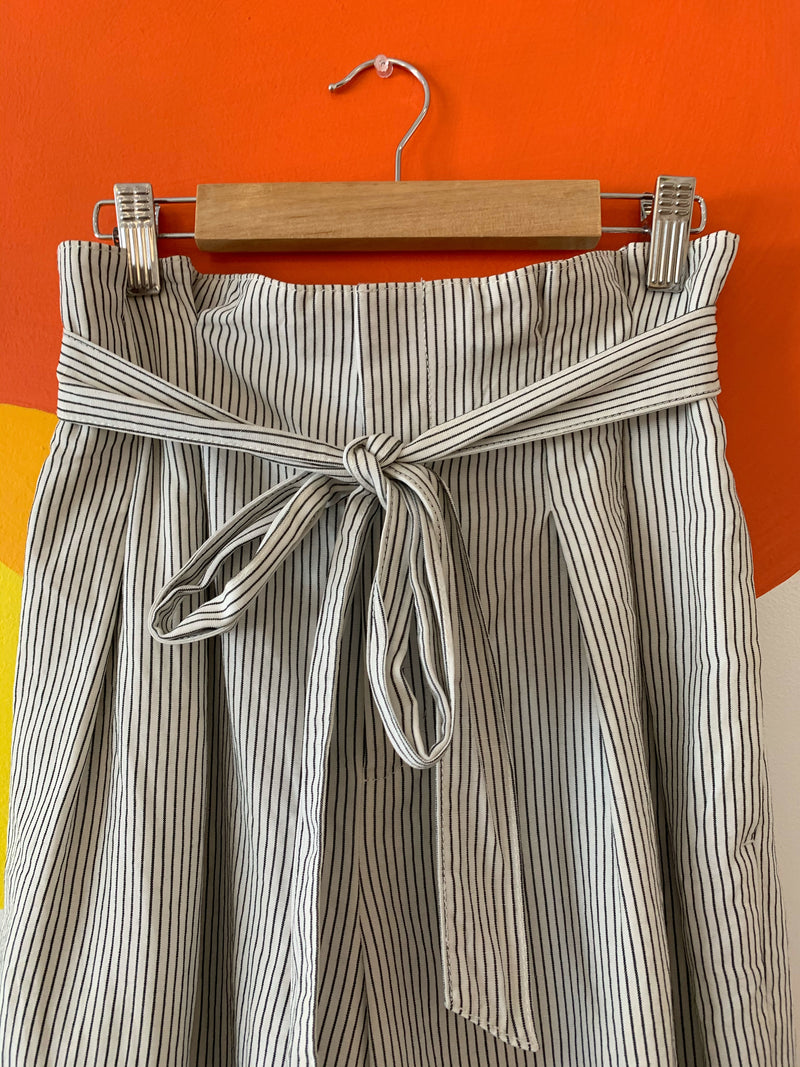 Pinstripe Pants with Elastic Tie Waist