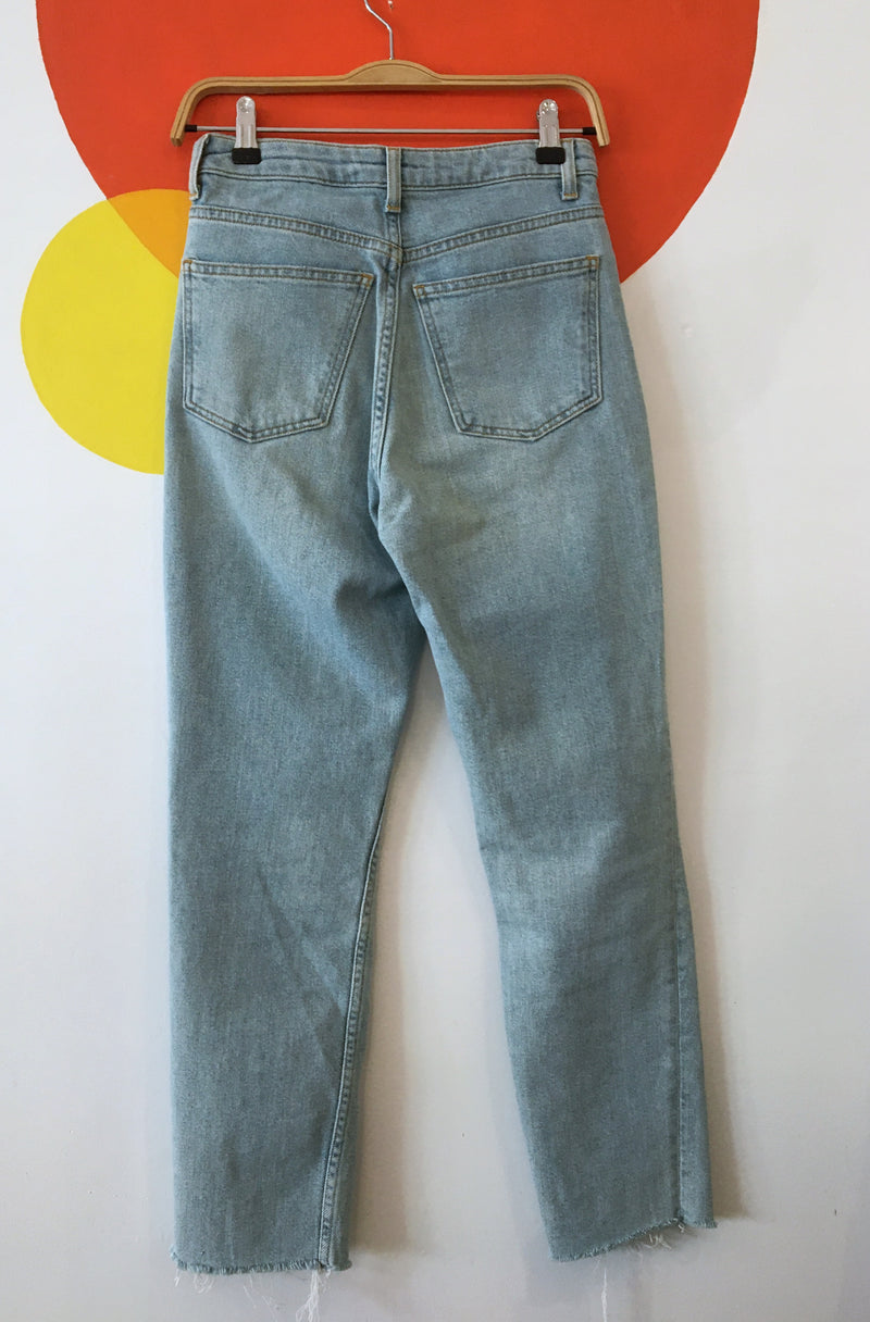 Raw Hem Light Wash Jeans