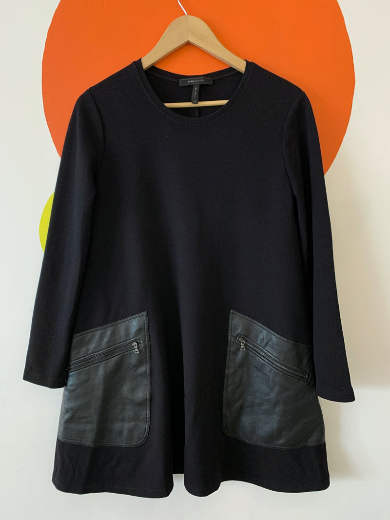 Black Tunic With Faux Leather Pockets