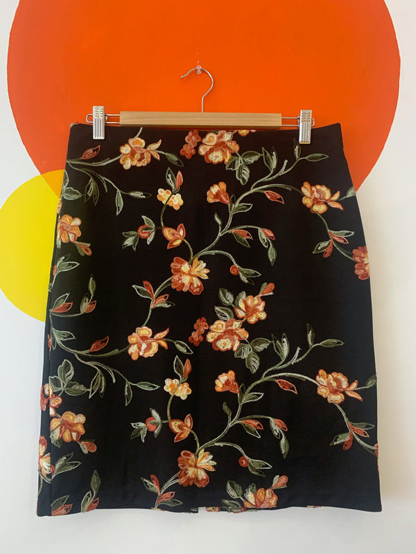 Black & Embroidered Floral Skirt