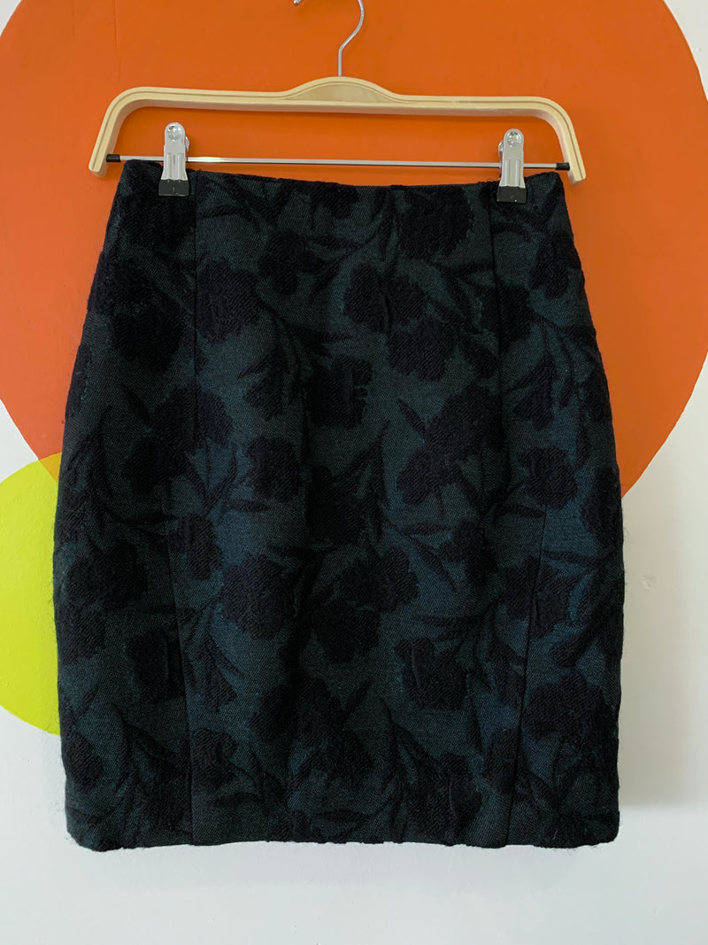 Jade and Black Floral Brocade Skirt