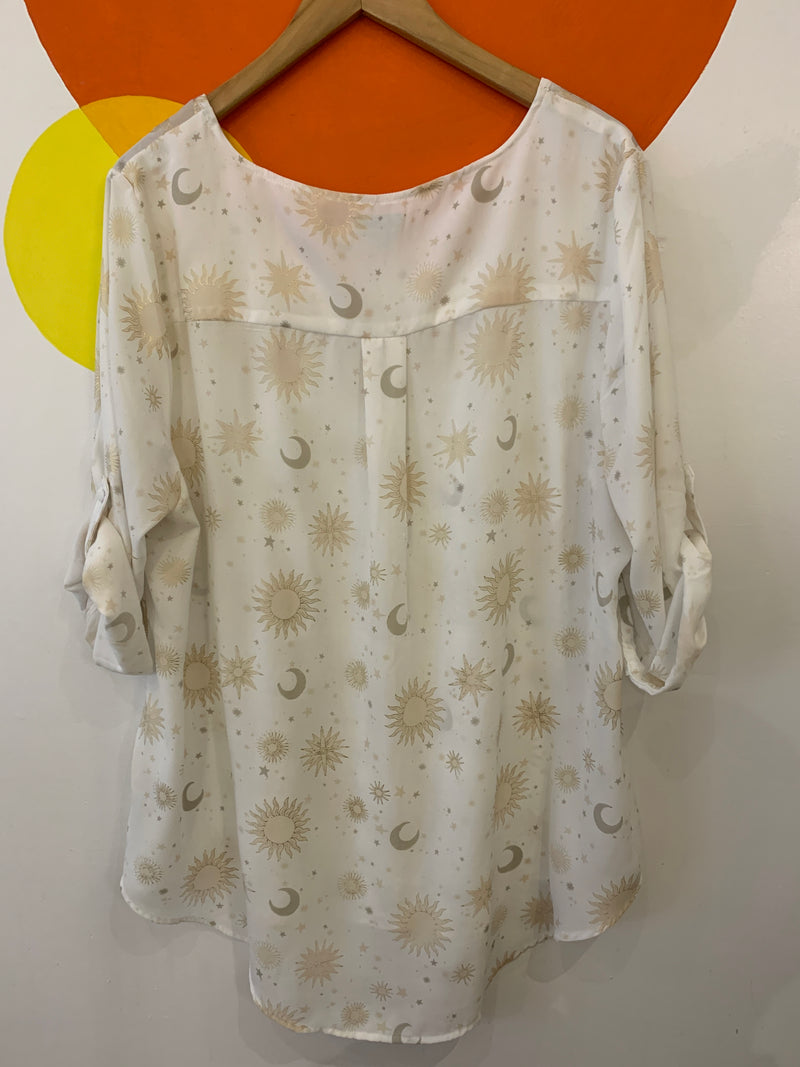 Metalic Sun & Moon Motif Blouse