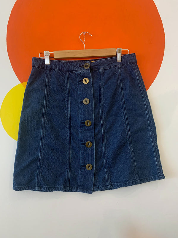 Large Brass Button Front Denim Skirt
