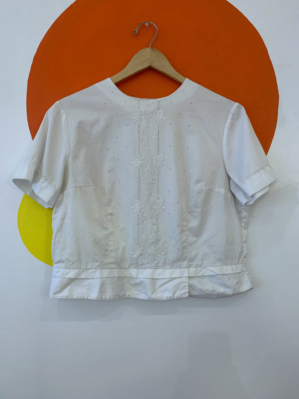 White Short Sleeve Embroidered Blouse