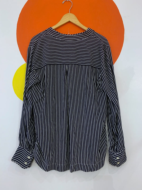 Vertical Stripe Long Sleeve Blouse