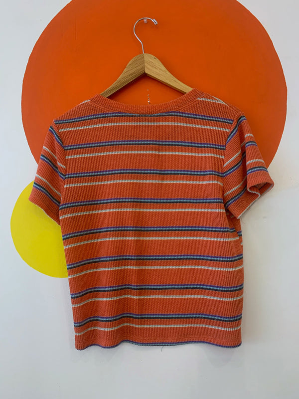Ribbed Orange Striped Henley Tee