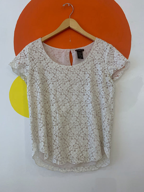 Scoopneck Lace Short Sleeve Top