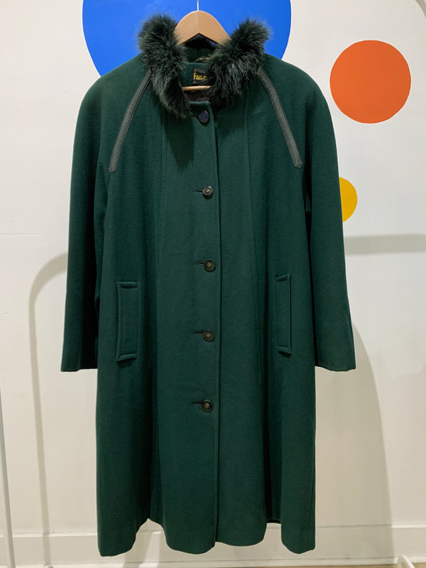 Vintage Green Wool Coat - Canadian Made! (as is)