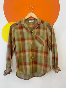 Vintage Plaid Long Sleeve Button Up
