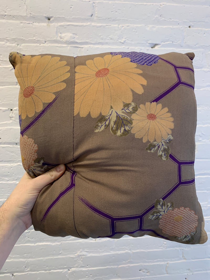 Vintage Kimono Silk Throw Cushion with Chrysanthemum Motif - Set of 2