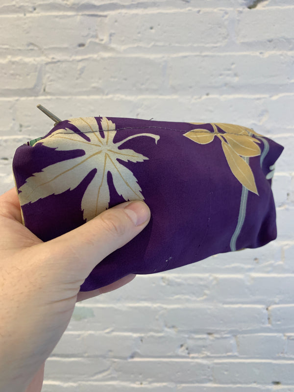 Silk Zip Bag - Purple with Foliage Motif - Medium
