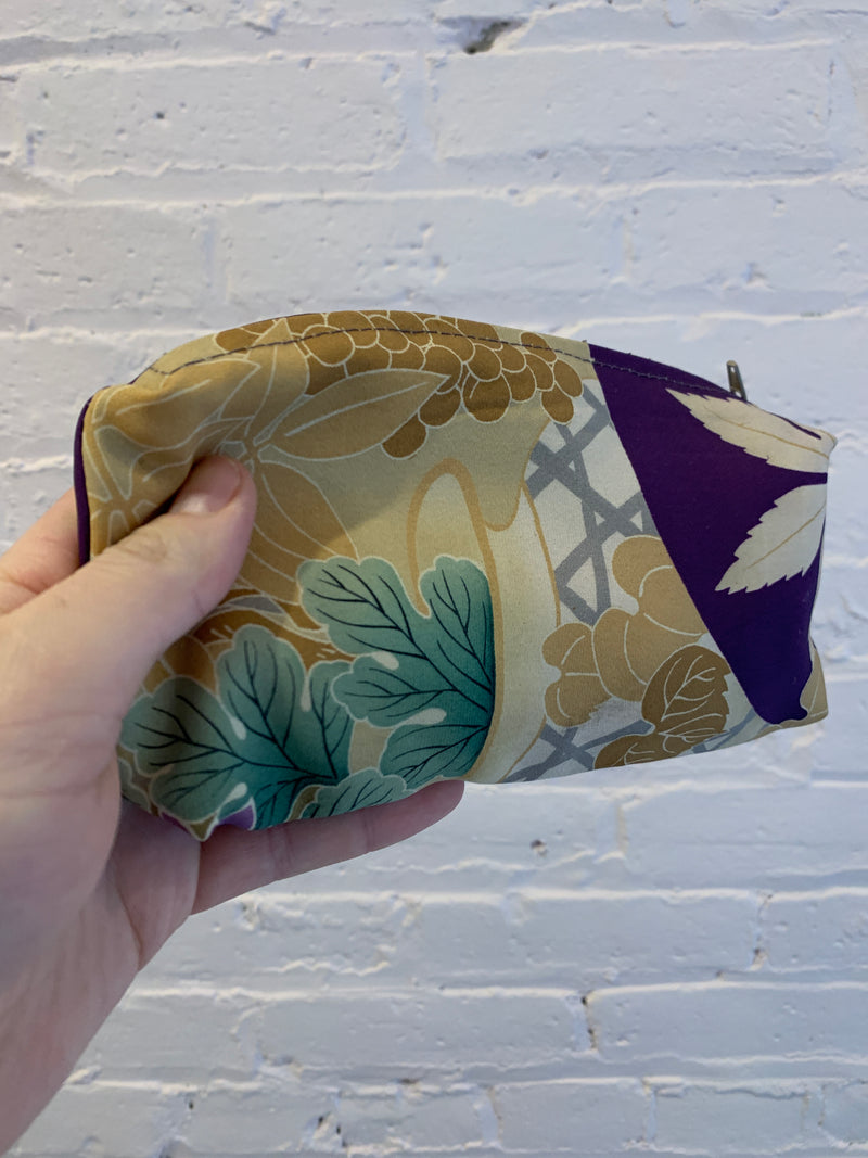 Silk Zip Bags - Purple with Foliage Motif