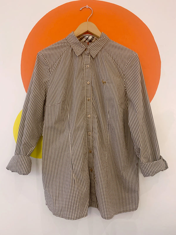 Brown Gingham Button Down With Elbow Patches