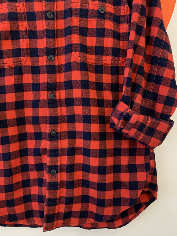 Red & Navy Plaid Flannel Button Down
